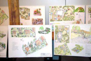 Дизайн сада. Генпланы с фрагментами выпускных учебных работ.