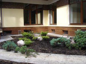 Формирование рокария у дома. Определение размещения камней, посадка кустарников.