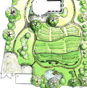 Фрагмент генплана проекта организации территории частного сада. Архитектурно- ландшафтная графика.